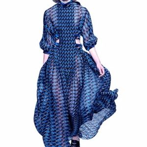 NAVY BLACK HOUNDSTOOTH MAXI
